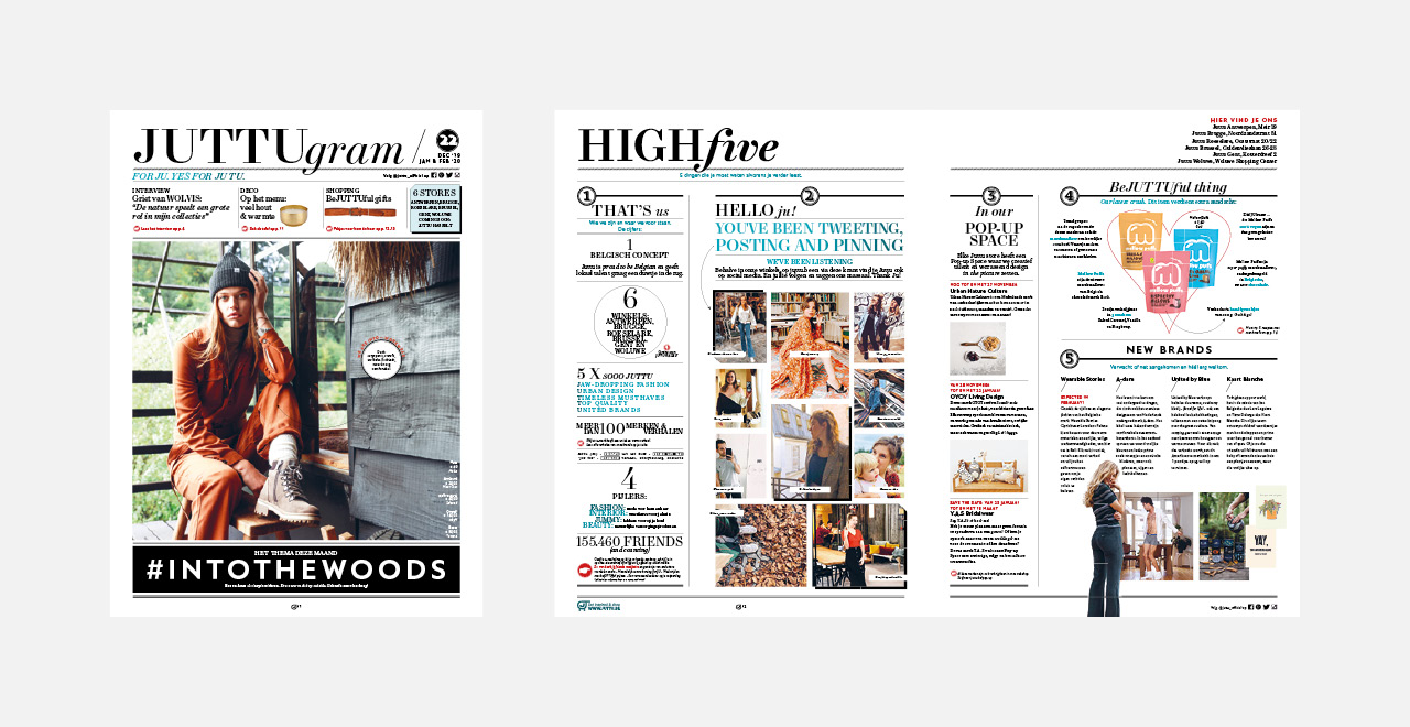 Art direction and graphic design for 'Juttugram', a newspaper distributed by Juttu conceptstore